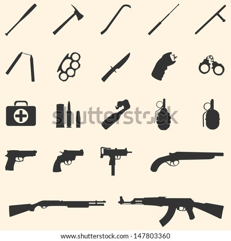 vector weapon icons  baseball