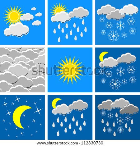 Vector weather conditions icons collection