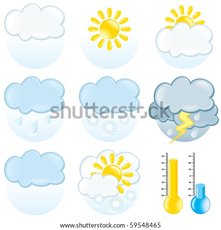 Vector weather forecast icon set
