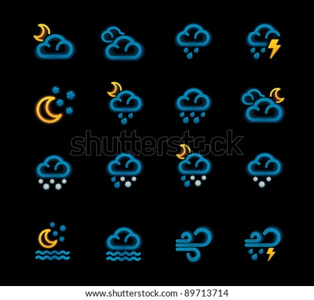 Vector weather forecast icon set. Part 2