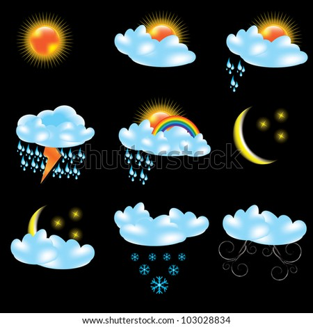 Stock vector vector weather forecast icons black background 103028834
