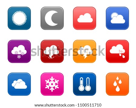 vector Weather forecast icons, climate sign symbols
