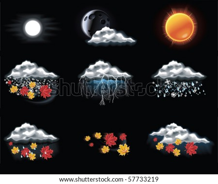Vector weather forecast icons. Part 3