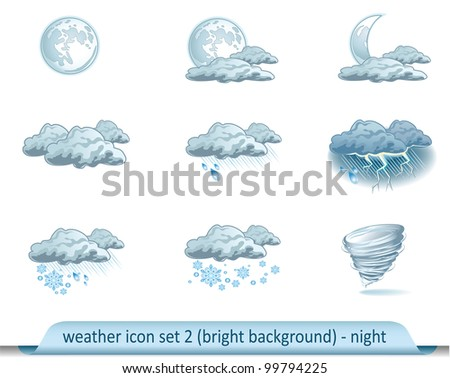 Vector weather forecast icons with bright background. Set 2 - night