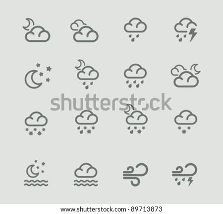 Vector weather forecast pictogram set. Part 2
