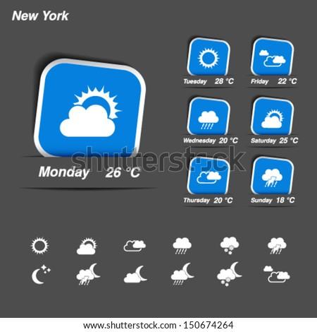 Vector weather forecast, widget, banner and symbols