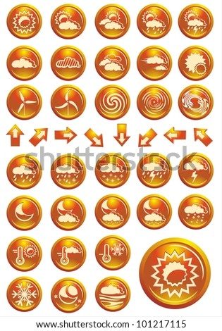 Vector weather icon set orange shiny buttons