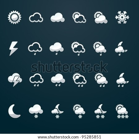 Vector weather icon set (p.3),  50x50 px silver on dark background