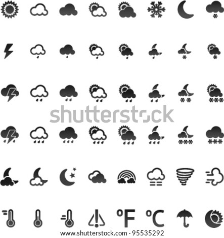 Vector weather icon set, 32x32 on white bacground