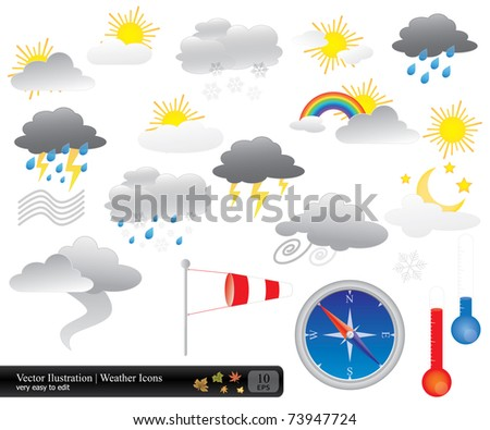 Vector weather icons and buttons pack in eps 10 format