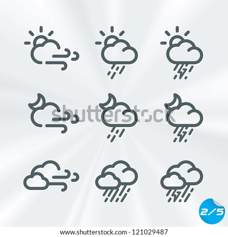 Vector Weather Icons Collection, Button, Sign, Symbol, Emblem, Sticker, Badge, Logo for Web Design, User Interface, Baby, Children, People