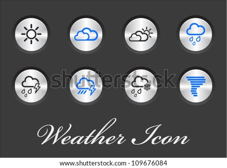 Vector Weather icons on metal buttons