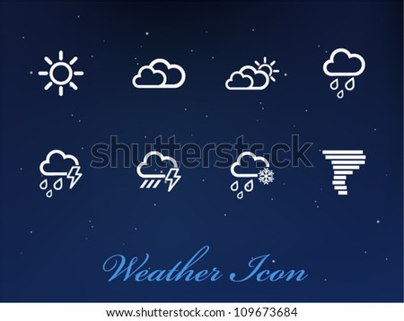 Vector Weather icons on sky background