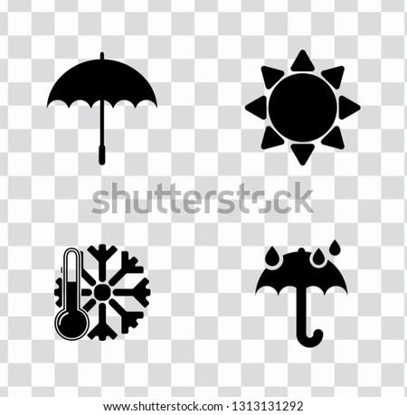 vector weather icons set. Weather forecast sign symbols - meteorology illustrations