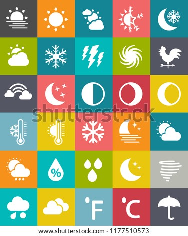 vector WEATHER ICONS SET with celsius & fahrenheit degree, umbrella, Half moon, drops, waxing crescent, quarter moon, moon & star, cloud rain and snow, night, partly cloudy, sun, clear clouds, tornado