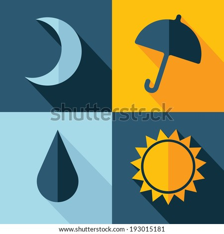 vector weather set icon moon