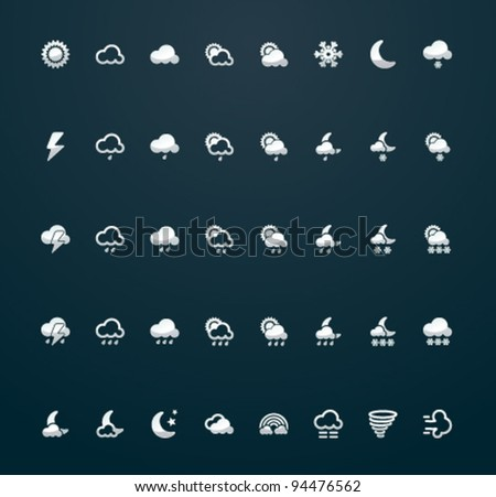 Vector weather silver 29x29 pixels icons on dark background