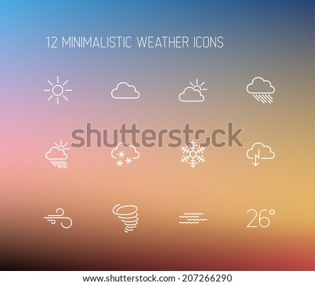 Vector weather thin line icon set on a blurred background