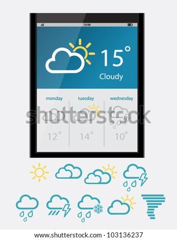 Vector weather widget - stock vector