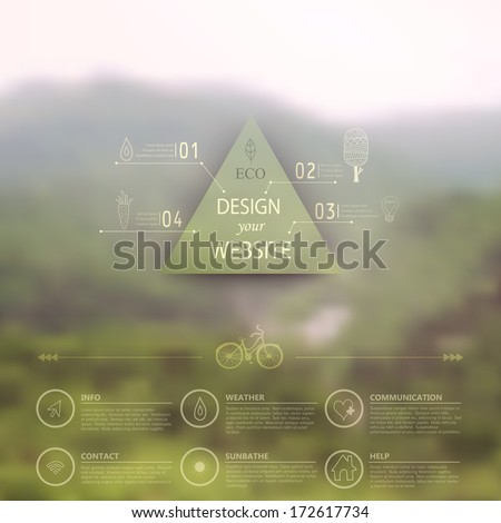 Vector web and mobile interface template. Corporate website design. Minimalistic  multifunctional media backdrop. Vector. Editable. Blurred. Triangle badge label, mountain landscape. Options, Icon