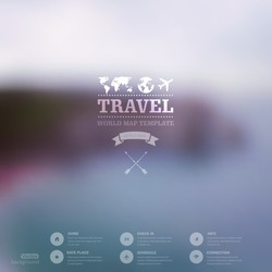 Vector web and mobile interface template. Travel corporate website design. Minimalistic   backdrop. Vector. Editable. Blurred. Triangle badge label, mountain landscape. Options, Icon, typography