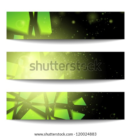 Vector web banners. One, two, three. Presentation slide template. Abstract background. Business background. Technology background. Business card. Technology abstract. Glowing background. Music party