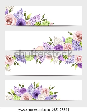 vector web banners with pink