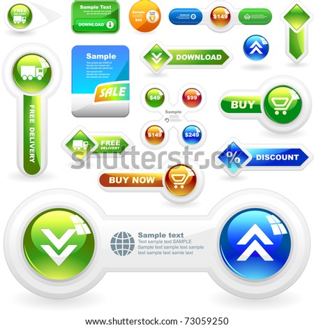 Vector web button. Download icon. Guarantee label. Best collection.