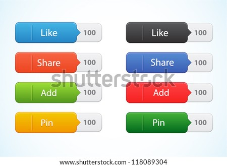 Vector web color button with tag isolated on white