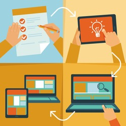 Vector web design process - icons and illustrations in flat style