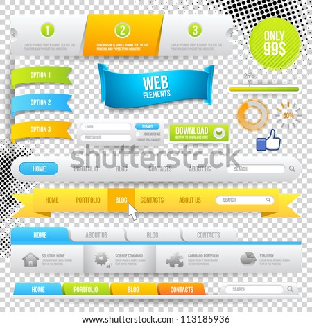 Vector Web Elements, Buttons and Labels. Site Navigation. - stock vector