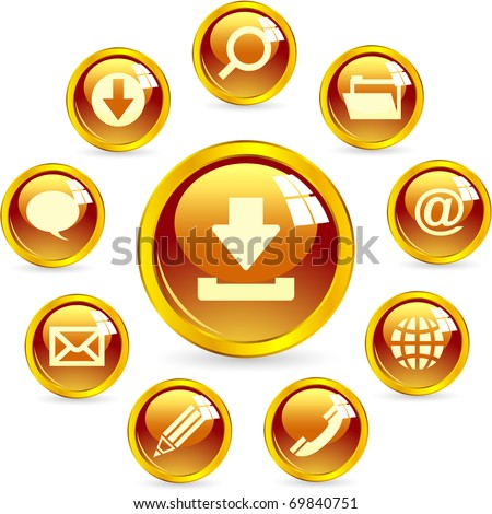 Vector web icon - email, phone, contact, service, search. Gold button for internet.