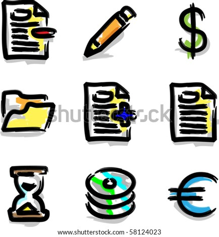 Vector web icons marker colour contour various