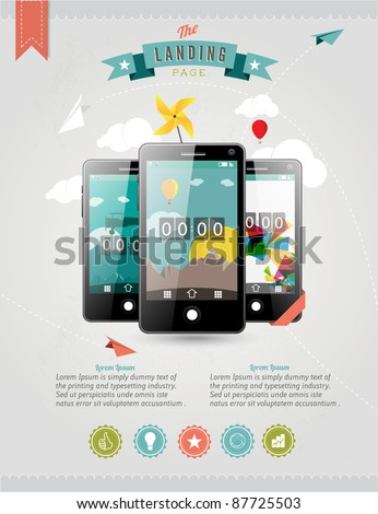 Vector Web Landing Page or Advertising Template with three touchscreen mobile phone devices and various icons