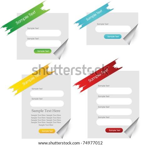 vector web login forms