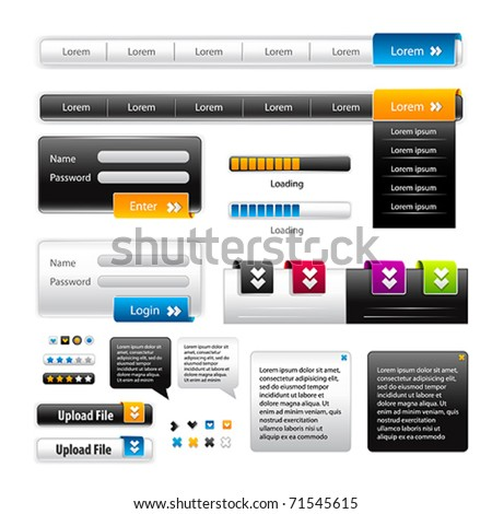 Vector Web 2.0 menu set for business site.