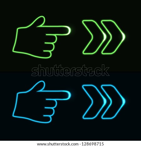 Vector web neon pointer - arrow, hand