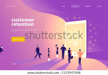 Vector web page concept design with customer retention theme - office people stand at big digital tablet screen. Landing page, mobile app, site template. Line art, business icons. Inbound marketing.