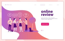 Vector web page concept design with online review theme. People with mobile device - laptop, tablet, smartphone - giving stars, rating. Thumb up, stars line icons. Landing page, mobile app, site.