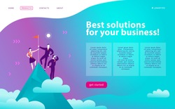 Vector web page design template - business solutions, consulting, marketing, support concept. People standing on mountain peak with winner flag. Success team work. Landing page. Mobile app, web banner