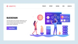 Vector web site design template. Blockchain and cryptocurrency technology. Bitcoin. Landing page concepts for website and mobile development. Modern flat illustration