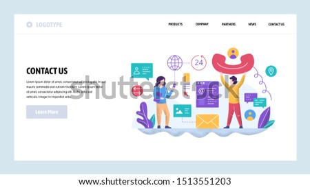 Vector web site design template. Call center and helpline support. Contact us page. Landing page concepts for website and mobile development. Modern flat illustration.