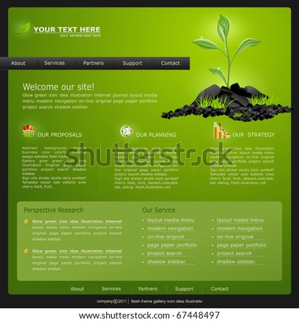 Vector Web site for business. green with green sprout