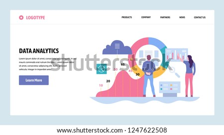 Vector web site gradient design template. Data analytics, dashboard and business finance report. Landing page concepts for website and mobile development. Modern flat illustration
