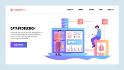 Vector web site gradient design template. Data protection, cyber security and secure login. Landing page concepts for website and mobile development. Modern flat illustration.