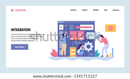 Vector web site gradient design template. Software and website development. Team building new app integration. Landing page concepts for website and mobile development. Modern flat illustration