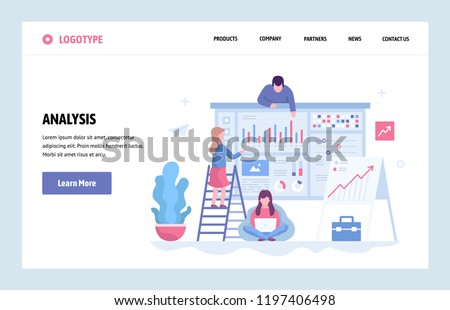 Vector web site linear art design template. Business team do data analysis using finance chart and dashboard. Landing page concepts for website and mobile development. Modern flat illustration.