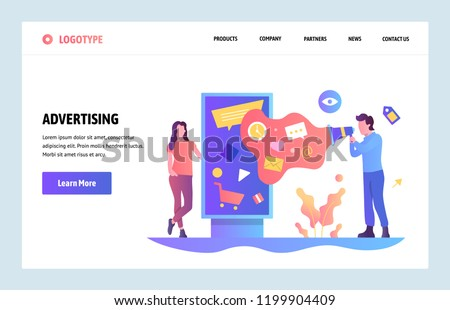 Vector web site linear art design template. Digital advertising and online marketing. Outdoor ads. Landing page concepts for website and mobile development. Modern flat illustration. #1199904409