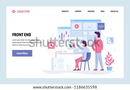 Vector web site linear art design template. Front end development team using futuristic dashboard and analyze data. Landing page concept for website and mobile development. Modern flat illustration