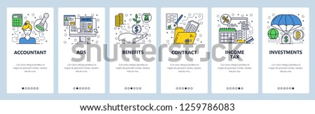 Vector web site linear art onboarding screens template. Accounting, income tax, money investment. Menu banners for website and mobile app development. Modern design flat illustration